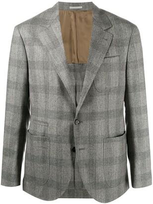 Brunello Cucinelli Single-Breasted Check Blazer