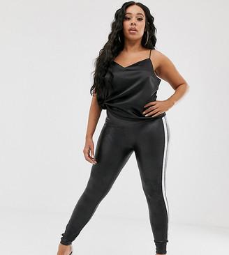 Spanx Plus faux leather side stripe legging-Black