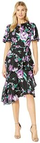 Tahari ASL Flutter Sleeve Printed Chiffon Tiered Floral Dress (Black/Purple/Green) Women's Dress
