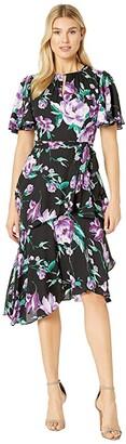 Tahari ASL Flutter Sleeve Printed Chiffon Tiered Floral Dress