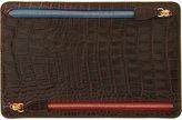 Smythson Men's Croc-Stamped Currency Case-BROWN