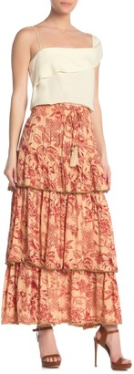 Z&L Europe Tiered Tropical Floral Maxi Skirt