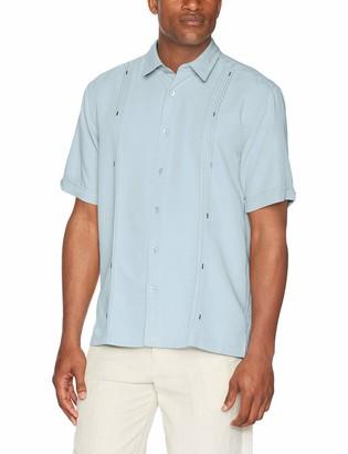 Cubavera mens Short Sleeve Cuban Camp With Contrast Insert Panels Button Down Shirt