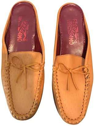 Salvatore Ferragamo Yellow Leather Mules & Clogs