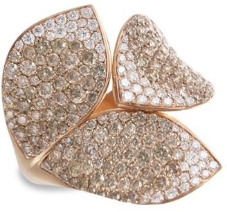 Pasquale Bruni Giardini Segreti 18K Rose Gold & Diamond Pave Leaf Wrap Ring