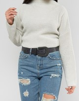 Asos Large Buckle Leather Western Waist And Hip Belt With Black Metalwork