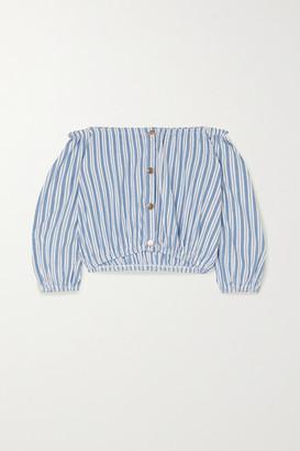 Melissa Odabash Danna Off-the-shoulder Striped Cotton Top - Blue