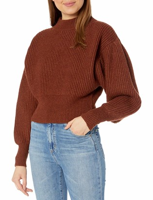 ASTR the Label Women's Regis Mock Neck Puff Sleeve Ribbed Sweater