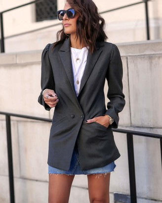 The Drop Women's Charcoal Cutout-Back Blazer by @lucyswhims M