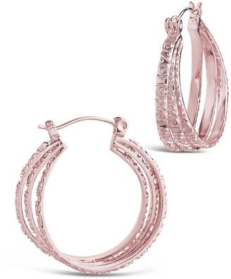 Sterling Forever 14K Rose Gold Plated Triple Layer Textured 25mm Hoop Earrings
