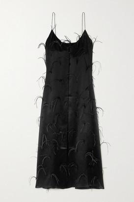 Michael Lo Sordo Feather-embellished Silk-satin Maxi Dress - Black