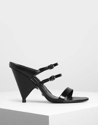 Charles & Keith Leather Double Strap Mary Jane Cone Heels