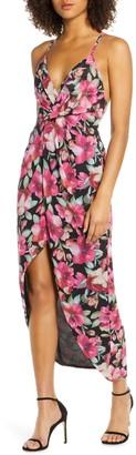Fame & Partners The Ina Floral Print Tulip Hem Cocktail Dress
