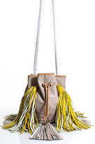 Sara Battaglia Beige Yellow Leather Tassle Detail Jasmine Bucket Handbag