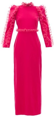 Givenchy Organza-ruffle Long-sleeve Velvet Gown - Womens - Pink