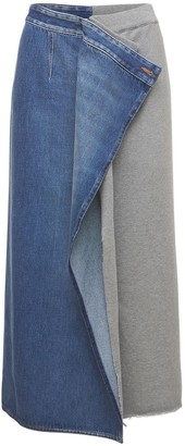 MM6 MAISON MARGIELA Cotton Denim & Fleece Midi Skirt