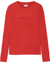 Frame Cutout Ribbed Merino Wool-blend Sweater - Tomato red