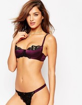 Asos Leanna Lace Up Satin Half Cup Molded Underwire Bra
