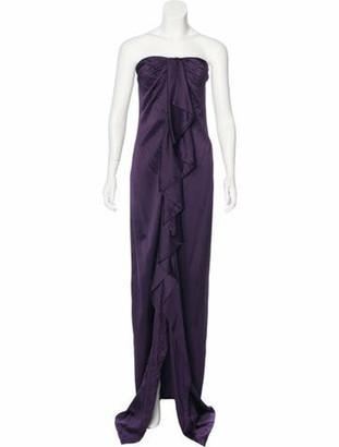 Valentino Ruffled Evening Dress Aubergine