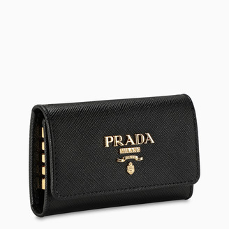 Prada Black leather keychain