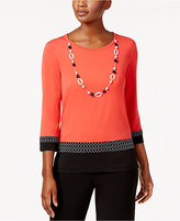 Alfred Dunner Saratoga Springs Colorblocked Necklace-Trim Top