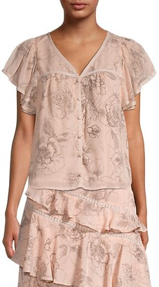 Allison New York Floral Flutter-Sleeve Blouse