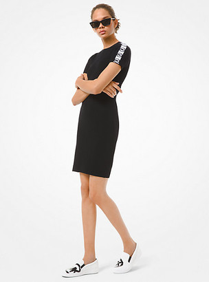 Michael Kors Logo Tape Ribbed Stretch Viscose Dress