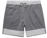 Helbers - Linen-trimmed Mélange Loopback Cotton-jersey Shorts
