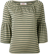Jucca striped trumpet sleeve top - women - Viscose/Polyester/Nylon - S