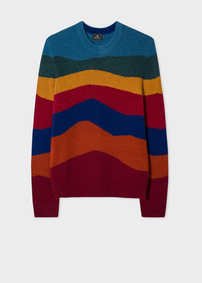 Men's Multi-Colour 'Mountain Stripe' Lambswool-Blend Sweater
