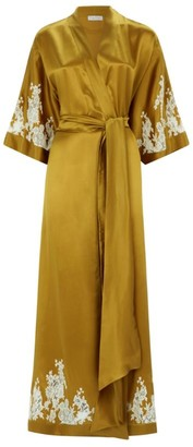 Carine Gilson Long Silk Lace Trim Kimono Robe