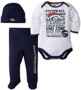 Baby Denver Broncos 3-Piece Bodysuit, Pants & Cap Set