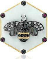 Artisan 18Kt Yellow Gold Pave Diamond Ruby Sapphire Bee Shape Ring Enamel Jewelry