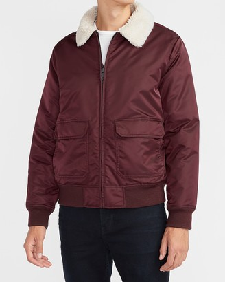 Express Sherpa Collar Water-Resistant Nylon Bomber Jacket