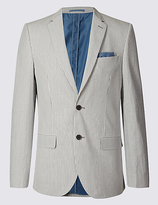 M&S Collection Striped Pure Cotton Tailored Fit Jacket