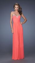 La Femme Sweetheart Jersey Dress in Pink Grapefruit 20048