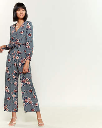 As U Wish Belted Long Sleeve Floral Jumpsuit