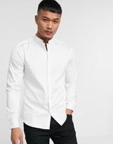 Asos Design DESIGN Premium slim fit sateen shirt with mandarin collar in white