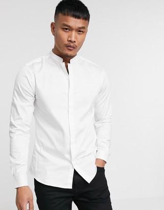 ASOS DESIGN Premium slim fit sateen shirt with mandarin collar in white