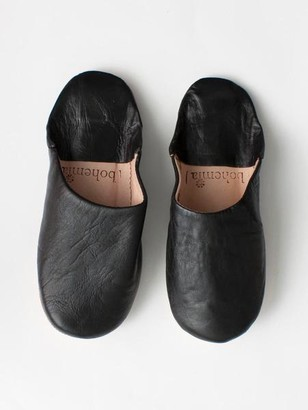 Bohemia Moroccan Leather Slippers - Black / Medium - Black/Blue/Grey