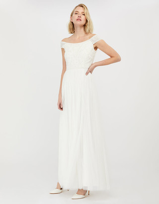 Under Armour Emmeline Bridal Bardot Embellished Maxi Dress Ivory