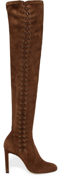 Jimmy Choo Marie 100 Stretch-suede Over-the-knee Boots - Tan