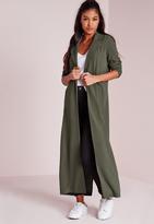 Missguided Long Sleeve Maxi Duster Jacket Khaki