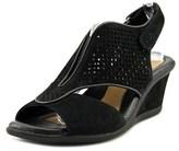 Earth Dalia Women Open Toe Leather Black Wedge Sandal.