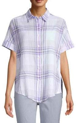 Lord & Taylor Petite Plaid Short Sleeve Button-Down Tie-Front Blouse