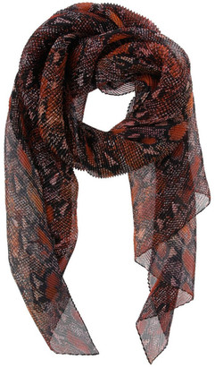 Innovare Made in Italy Pleated Snake Print Chiffon Scarf