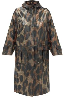 Ganni Leopard-print Pvc Raincoat - Womens - Leopard