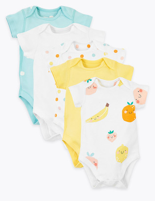 Marks and Spencer 5 Pack Organic Cotton Fruit Bodysuits (6lbs-3 Yrs)