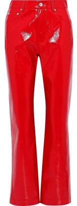 MSGM Faux Glossed-leather Straight-leg Pants