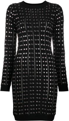 John Richmond Studded Long-Sleeve Mini Dress